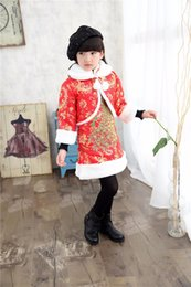 Wholesale Children Dressed Traditional Clothing - New Year Clothing Gift Traditional Winter 2pcs Set Print Cheongsam Dress for 4-8 Years Girls Children Chi-pao Chinese-Style Sets