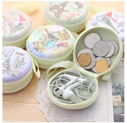 Wholesale Cute Key Pouch - Wholesale- Unisex Women Mini Cute Round Headset Paris Eiffel Zipper Coin Purse Key Wallet Pouch Bag New Fashion Coin Packet