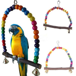 Wholesale Pet Birds Parrots - New Colorful Parrot Swing Pet Toy Colorful Bird Parakeet Budgie Lovebird Wood Budgie Lovebird Woodens Cockatiel Hanging Swings