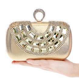 Wholesale Wedding Accessories Rhinestone Clutch Bag - Acrylic Accessory Rhinestones U design evening bags finger ring crystal evening bags for wedding party dinner handbags clutches