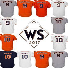 Wholesale Adult Houston - With 2017 WS Patch Adults Ladys Youth Houston 9 Marwin Gonzalez 10 Yulieski Gurriel Grey Orange White Blue Flex Cool Base Baseball Jerseys