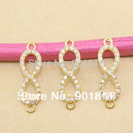 Wholesale Crystal Rhinestone Infinity Bracelet Connector - Wholesale- 10pcs lot 10*33mm Gold Plated Crystal Rhinestone Figure 8 Infinity Connector Charm Pendant for DIY Bracelet Jewelry Making F476