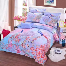 Wholesale Purple Queen Quilt - New peacock 3d 4 pcs bedding set bedclothes sets Bedding Supplies sheet quilt cover duvet cover Pillowcase Home Textiles