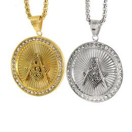 2019 colgantes masónicos de oro Colgantes de titanio masónicos de joyería de acero inoxidable para hombre, collar de hiphop, chapado en oro, 18 quilates. colgantes masónicos de oro baratos