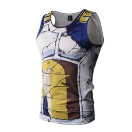 Wholesale Yellow Cotton Vest - Men's Summer Tank Tops Print Dragon Ball Z Super Saiyan Goku Black Yamcha Vegeta Piccolo Bodybuilding Vest Tops Fitness Jersey