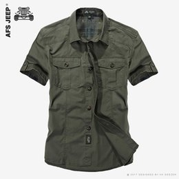 Wholesale Military Green Dresses - AFS JEEP Cotton Casual Shirts Men New 2017 Short Sleeve Loose Army Military Tooling Pockets Breathable High Quality Dress Shirt