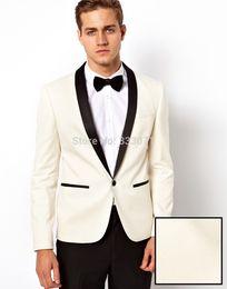 Wholesale men s satin pants - Wholesale- 2016 Ivory Jacket With Black Satin Lapel Groom Tuxedos Groomsmen Best Man Suit Mens Wedding Suits Jacket+Pants+Bow Tie