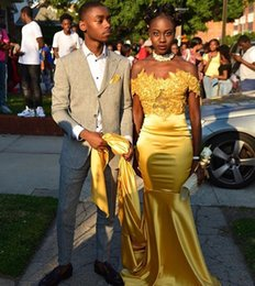 Wholesale Ivory Silk Gown - 2k17 Black Girls Yellow Mermaid Prom Dresses Off Shoulder Lace Applique Court Train Formal Evening Party Gowns Cheap Dresses South African