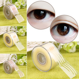 Wholesale Double Eyelid Sticker Wide - Wholesale-Top Quality 300 Pair Adhesive Invisible Wide Narrow Double Eyelid Sticker Net L Tape Make Up