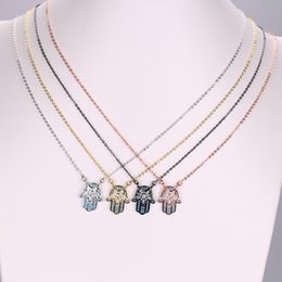 Wholesale Cz Pendent - New 5pcs 4 colors micro pave colorful cz hand hamsa pendent necklace for women jewelry gift