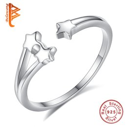 Wholesale 925 Rings For Girl - BELAWANG Authentic 925 Sterling Silver Star Open Finger Rings for Women Girls Christmas Day Fashion Jewelry Gift fit Size 7-8 Free Shipping