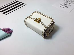 Wholesale Pink Rhinestone Purses - White rivet Diamond crossbody bag Women shoulder bag Cheapo strap purse fashion Flap bags evening clutch bag party