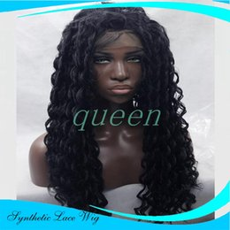 Wholesale Long White Wig Curly - Japanese Heat Resistant Fiber Long Black Curly Synthetic Lace Front Wigs Black & Brown Afro Kinky Curly Synthetic Lace Front Wig