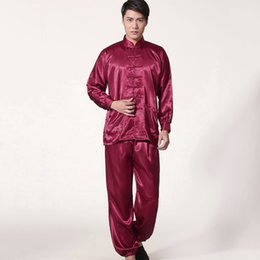 Wholesale Traditional Chinese Silk Clothes - Wholesale Men Sleepwear Traditional Chinese Style Pajamas Silk-Like Long Sleeved Tai Chi Suit Leisure Clothing Homewear JK0071
