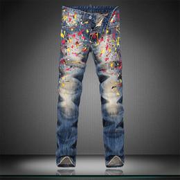 Wholesale Big Star Skinny - Wholesale-Super-Star Style Big Brand Printed Men Jeans Fashion Cotton Denim Jeans Men Slim Straight Washed Mens Jeans