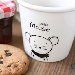 Wholesale Chinese Porcelain Mug - Wholesale- free shipping - lovely animal Chinese Zodiac (mouse) cups Ceramic Eco Cup porcelain Mug Coffee Cup milk cup