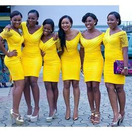 Wholesale Cheap Sexy Red Pencil Dress - Yellow Aso Ebi Bridesmaid Dresses Cheap Custom Made Short Bridesmaid Dress Mini Length Sexy Plunging V Neck Cap Sleeves Pencil Dress Sheath