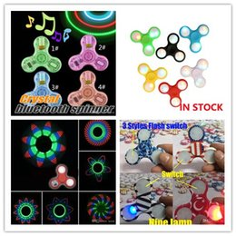 Wholesale Usa Plastics - LED Bluetooth 11 LED 18 pattern Spinners Fidget Spinner EDC Triangle USA Flag Decompression Fingers Anxiety Toy HandSpinner in retail box