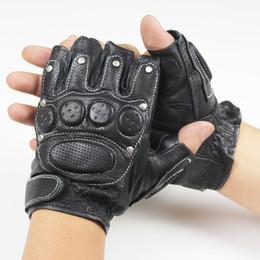 Wholesale Tactic Gloves - Wholesale- 2017 men Genuine leather gloves male model rivet fitness semi-finger half palm driving tactic war sheepskin gloves mittens