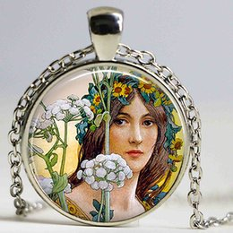Wholesale Nouveau Art Glass - Art Nouveau Flower Fairy Keychain Cabochon Glass necklace Art Nouveau Gift Oil Painting