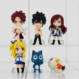 Wholesale Erza Fairy Figure - EMS Anime Fairy Tail PVC Figures Set 6pcs New Natsu Gray Lucy Erza Happy PVC Toys Gifts Collecion Dolls
