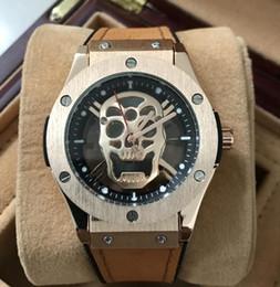 Wholesale Skull Watches For Men - Modern Men Luxury brand watch Rubber band Quartz Diamond watches Skull head wristwatches For men's Male Clock Wtach Waterproof Wholesale