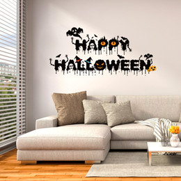 Wholesale Happy Decal - Creative DIY Halloween Decoration black Blessed Happy Halloween wall sticker Carved Gift Removable Windows art Sticker home Decor Wholesale