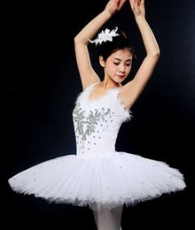 Wholesale Tutu Ballet Leotard Dresses - Womens' professional white swan sleeveless ballet dance wear tutu leotards performance dress Ballerina Skirt stage costumes D010