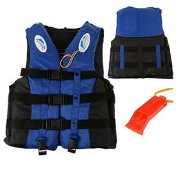 Wholesale boating vest - Wholesale- Swimmwing Fishing Boating Polyester Adult Life Jacket Foam Vest Survival Suit with Whistle for Swimming Drifting Device+Whistle