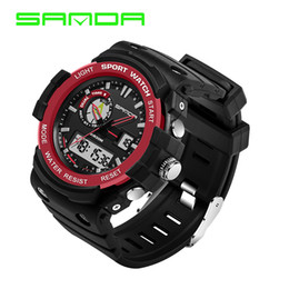 Wholesale Dual Time Boy Sports Watch - 2017 New Arrival Sanda Waterproof Dual Time Digital Sport Multi Function Quartz Shock Wristwatches For Men Boy Mountain Watches