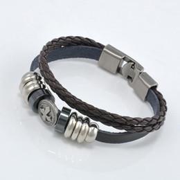 Wholesale Punk Studded Bracelet - Wholesale-New Cool Black Metal Cross Studded Surfer Leather punk Bracelet Wristband Cuff Men's BROWN~t563