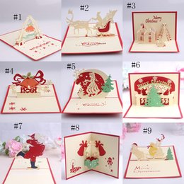 Wholesale Origami Pop Up Greeting Cards - Handmade Kirigami Origami 3D Pop UP Card Creative Merry Christmas Gift Greeting Cards 11 styles C2725