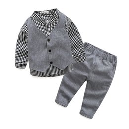 Wholesale Baby Waistcoat Outfit - 2017 Boys Baby Clothing Sets Gentleman Plaid Shirts Gray Waistcoat Pants 3pcs Set Toddler Cotton Spring Autumn Infant Clothes Outfits