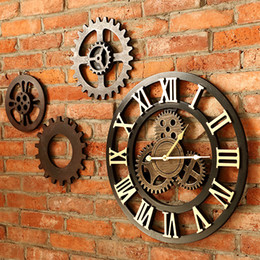 Wholesale Big Wall Clocks - Wholesale-Handmade 3D retro rustic decorative luxury art big gear wooden vintage large wall clock on the wall for gift