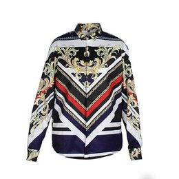 Wholesale Men Silk Shirts Long Sleeve - 2017 fashion Wave Of Men Floral Print Colour Mixture Luxury Casual Harajuku Shirts Long sleeves Men's Medusa Shirts M--2XL