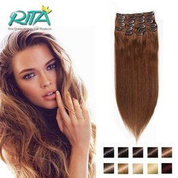 Wholesale Ash Brown Extensions - Unprocessed Remy Human Hair #6 Ash Brown Color 70-200g Clip In Remy Straight Human Hair Extensions
