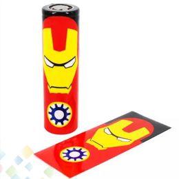 Wholesale Heat Wraps - 18650 Battery PVC 70mm Skin Superman Batman Captain America Heat Shrinkable Tubing Wrap fit 18650 battery High quality DHL Free
