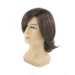 Wholesale Ombre Style - wigs styles Similler Men's Short Style Wavy Bouncy Side Swept Fringe Bang Hairstyle Dark Brown Color Hair Wig