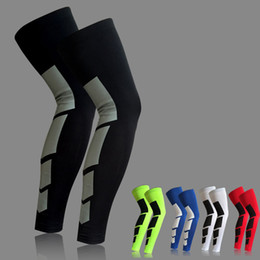 Wholesale Compression Brace - Wholesale- 1PCS Super Elastic Lycra Basketball Leg Warmers Calf Thigh Compression Sleeves Knee Brace Soccer Volleyball Cycling