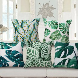 Wholesale Wholesale Decorative Leaves - 11 Styles Green Leaves Cushion Covers Tropical Summer Plants Monstera Palm Leaf Pineapple Cushion Cover Decorative Beige Linen Pillow Case