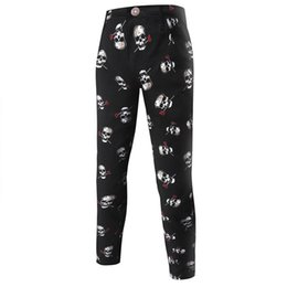 Wholesale Teenagers Jeans - Wholesale-Retail 2016 new arrival Men's skull printed cotton stretch jeans for men casual denim trousers Teenager skinny black male pants