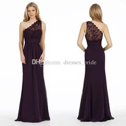 Wholesale Plum One Shoulder Dress - Plum Luminescent Chiffon A-line Bridesmaid Gown One Shoulder See Though Back Pleat Sash Detail Special Occasion Dress 2018 New Formal Dress