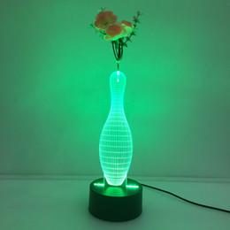 3D Blowling Pin Ilusión Lámpara Luz de la noche con Flower DC 5V USB Carga AA Battery Dropshipping Venta al por mayor envío gratuito Retail Box desde fabricantes