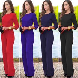 Wholesale Xl Womens Dress Pants - Ladies Womens Jumpsuit Long Pants Sexy Catsuit Solid Color Back Leakage Three Quarter Sleeve Dress Pants