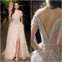 Wholesale Strapless Open Side Prom Dresses - Luxury 2017 Evening Dresses Boat Neck Off the Shoulder V Back Open Beading Feathers Long Floor-Length Prom Party Gown