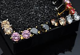 Wholesale Spiked Jewellery - Cubic zirconia earrings cz punk earrings black jewellery stainless steel stud earrings small men women spike metal screw