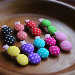 Wholesale Toddler Claw Hair Clips - Cute Baby Hair Clip 3cm Hairpins with Lovely Polka Dot Button Baby Girls Toddlers Ornaments Accessories Wholesale Free Shipping