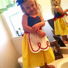 Wholesale White Sling Dress - 3 Style Girl ins princess sling dresses Kids girls Snow White Cinderella sleeveless dot dress summer cartoon Children Cosplay clothes B001