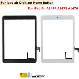 Wholesale Mini Home Button - Front Glass For iPad 2 3 4 5 Air Mini 1 2 Touch Screen Digitizer Flex Cable Home Button Assembly With Adhesive