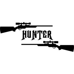 Wholesale El Decals - 16CM*6.5CM Gun Hunter Hunting Deer Buck Rifle Car Stickers Car Styling Vinyl Decal Sticker Cars Acessories Decoration